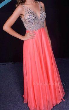 V-Neck Custom Made Beading Long Prom Dress,Evening Dress,Prom Dresses,BG143