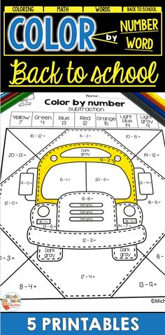 These back to school coloring pages are perfect to practice word recognition (sight words), addition and subtraction. Students will have fun completing these color by number and color by word sheets. Back To School Activities, School Resources, Teacher Resources, Math Words, Sight Words, Primary Classroom, Classroom Ideas, School Coloring Pages, Teaching French