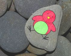 OOAK Hand Painted Kitchen Fridge Magnet of a Pink & Green Bird Made From a Stone Pebble