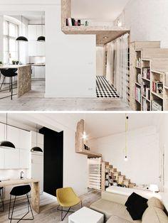 One Bedroom Loft Apartments . One Bedroom Loft Apartments . Micro Apartment, Apartment Interior, Apartment Design, Mini Loft, Small Loft Apartments, Tiny Spaces, Loft Design, Tiny House Design, Stair Design