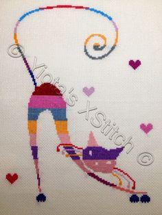 Freebie Gallery: Cat in stripes by Yiota's XStitch