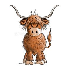 Cute Highland cattle - Cow - Cartoon - Gift Contrast Coffee Mug Highland Cow Painting, Highland Cow Art, Highland Cattle, Highland Cow Tattoo, Cow Drawing Easy, Easy Drawings, Cartoon Drawings, Animal Drawings, Cow Clipart
