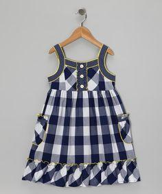 Navy & White Plaid Dress - Girls