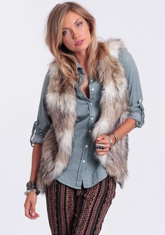 Get Wild Faux Fur Vest at #threadsence @threadsence