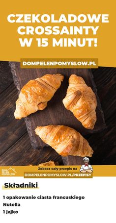 Czekoladowe croissanty w 15 minut! Easy Cooking, Cooking Time, Cooking Recipes, Healthy Recipes, Recipe Fr, Good Food, Yummy Food, Quick Snacks, Diy Food