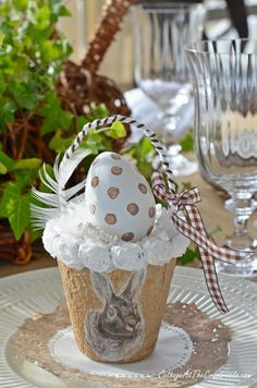 A Neutral Bunny Tablescape - Cottage at the Crossroads