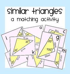 Similar Triangles Matching Activity & Similar Triangles, Triangle Worksheet, Teaching Math, Teaching Ideas, Common Core Standards, Teacher Pay Teachers, Teacher Newsletter, Problem Solving, Homeschool