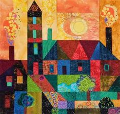 Quilts and Paintings – Hue Bliss: Color & Art notes by Karen Gillis Taylor Quilting Projects, Quilting Designs, House Quilt Patterns, Art Textile, Contemporary Quilts, Quilted Wall Hangings, Fabric Houses, Fabric Art, Kitsch
