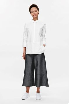 COS image 18 of Cotton poplin and jersey shirt in White