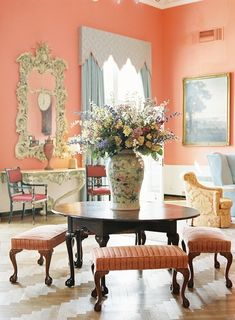 This Peach Sitting Room In The Greenbrier Hotel Is Absolutely Gorgeous
