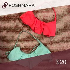 Bathing suit tops Never been worn, bright pink and baby blue, goes perfect with basic black bottoms target Swim Bikinis
