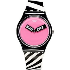 Swatch Unisex Swiss When-ever Black & White Silicone Strap Watch 34mm GB284 featuring polyvore, women's fashion, jewelry, watches, multi, swatch jewelry, unisex watches, swatch watches, swatch wrist watch and unisex jewelry