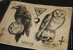 raven pocket watch, owl skull tattoo