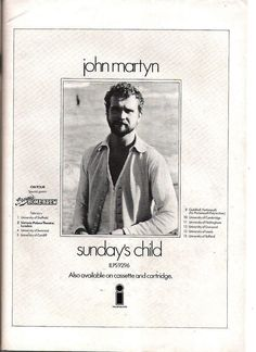 John Martyn ad. Victoria Palace Theatre, John Martyn, Sundays Child, Poster Ads, Movie Posters, London University, Island Records, Portsmouth, Album