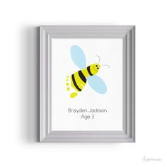 Bumble Bee Foot Print Childrens Room Art Gift By Handpressions Playroom DecorNursery