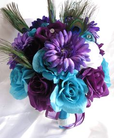 turquoise and purple bridal boquet | Wedding Bouquet Bridal Silk Flowers Turquoise Purple Plum Peacock ...