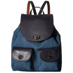 COACH Denim Color Block Turnlock Rucksack (DK/Denim/Navy) Handbags ($395) ❤ liked on Polyvore featuring bags, backpacks, backpack bags, navy blue bag, denim backpack, military rucksack and strap backpack