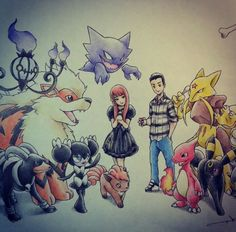 Pokemon drawing. I want of these made with me and my girl :D itsbirdy art