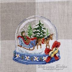 There are always fairy tales at the very heart of the snow globes, covered by fluffy snow. This one tells us a story about magic that happens on a Christmas Eve Cross Stitch Christmas Ornaments, Xmas Cross Stitch, Cross Stitch Love, Cross Stitch Needles, Beaded Cross Stitch, Christmas Embroidery, Xmas Ornaments, Christmas Cross, Cross Stitching