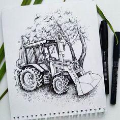 Гордость Беларуси) А вы в курсе, что в этом году на День Республики демонстрировали балет тракторов? Теперь вот в курсе)) #скетч #скетчбук #набросок #рисунок #зарисовка #графика #трактор #учусьрисовать #рисуюкаждыйдень #sketch #sketchbook #liner #drawing #tractor