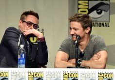 Robert Downey Jr. and Jeremy Renner at event of Avengers: Age of Ultron (2015)