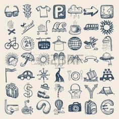 pictogramme transport: 49 dessin à la main doodle icon set, le thème du voyage