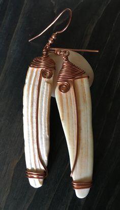 Seashell Earrings Seashell Copper Earrings Long Earrings Wire