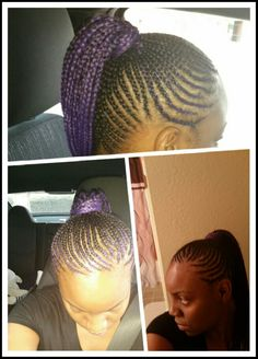 Purple Cornrow Ponytail Cornrow Ponytail, Cornrows, Braids, Protective Styles, Sydney, Purple, Fashion, Bang Braids, Moda