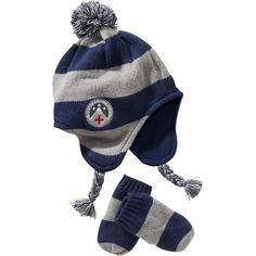 5e3d0a09bbf6f Striped Knit Hat   Mittens Sets for Baby