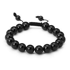 Mens Adjule Black Obsidian Mala Bead Bracelet