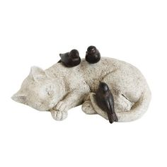 Creative Co-Op Secret Garden Resin Cat Sleeping with Birds Figurine