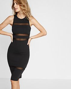 sleeveless mesh striped sheath dress