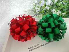 christmas hairbows | ... loopy flower hair bows with double alligator clips Christmas hair bows