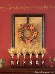 fireplace with thanskgiving wreath | Thanksgiving Like the wreath hanging within the frame. Can do this ...You can use plastic water bottles too!! #recycle
