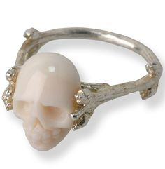 ☆ Ethelyn » Sterling Silver Twig Branch with a White Coral Hand-carved Skull :¦: Jewelry Designer Sarah Richley ☆