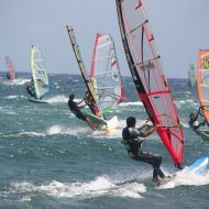 Canary Islands. Windsurfers at Pozo Izquierdo, Mecca for windsurfers from all over the world.