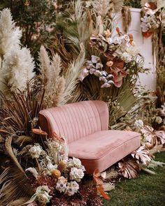Try The Trend: Creative Ways to Use Pampas Grass in Your Wedding Decor · Wayfarers Chapel Wedding Trends, Wedding Designs, Boho Wedding, Floral Wedding, Wedding Flowers, Wedding Lounge, Wedding Beauty, Wedding Ideas, Wedding Backyard