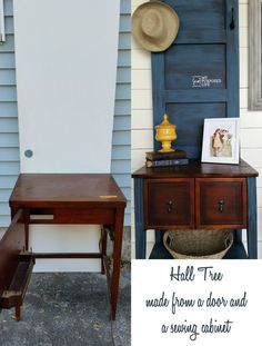How to make a DIY hall tree out of an old door and a sewing cabinet. I used an old hollow core door and trimmed it out with some boards to dress it up. Old Door Projects, Furniture Projects, Furniture Makeover, Diy Furniture, Diy Projects, Recycling Projects, Furniture Vintage, Painting Furniture, Luxury Furniture