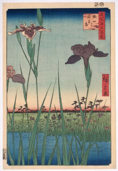 "Horikiri no hana shobu, ""Flowering Irises at Horikiri"" from Meisho Edo hyakkei, the ""One Hundred Views of Edo"" published by Uoei between 1856 and 1858 ( this being 1857 ). The village of Horikiri, situated up the Sumida River from Edo, was famous for growing irises, azaleas, morning glory and chrysanthemums. Large foreground images, such as the blooms here, was a popular compositional device used by Hiroshige and impressed and was picked-up by many French artists of the late 19th century"