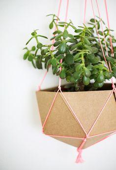 cardboard / string / hanging planter
