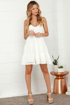 Ivory Dress - Embroidered Dress - White Dress - $49.00