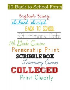 10 Back to School Free Fonts