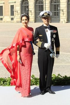 """Crown Princess Mary and Crown Prince Frederik of Denmark arrive at the Royal Chapel, Stockholm; wedding of Princess Madeleine of Sweden and mr. Christopher """"Chris"""" O'Neill, June 8th 2013"""