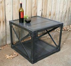 Handmade wood & scrap metal industrial coffee table urban by jreal, $595.00