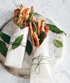 *Savoury Cheese Twists - Elevate a gift of wine with savory cheese twists, packaged with aromatic sprigs of herbs. Cheese Twists, Yummy Food, Tasty, Cooking Recipes, Healthy Recipes, Cafe Food, Food Packaging, Food Presentation, Food Styling