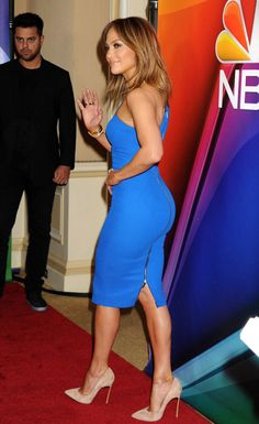 Jennifer Lopez wearing a Victoria Beckham dress with Casadei suede pumps at an NBC press event promoting Shades of Blue.Styled by #RandM.