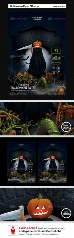 Halloween Flyer and Poster Template on @codegrape. More Info: https://www.codegrape.com/item/halloween-flyer-and-poster-template/10721