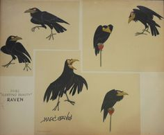 sketches of maleficent  character?   Extraordinary sinister poses for the raven. What beautiful shapes!