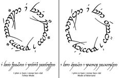 """""""I phin ú-bain i reniar ben-râd"""" (Not-all the ones that stray are without-path) Sindarin"""