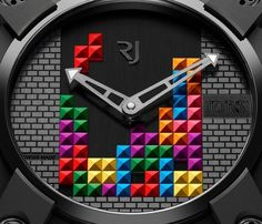 "Romain Jerome Tetris-DNA Watch - by Ariel Adams - see more about this latest RJ creation on aBlogtoWatch.com ""Romain Jerome has already graced us with watches inspired by Space Invaders, PAC-MAN, and now, Tetris. In the future, more video game-inspired watches will come from Romain Jerome - we can promise you that..."""